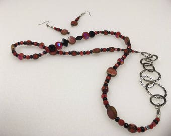 Womans Long Necklace with Earrings Set