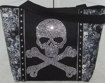 Damask Rhinestone Skull large Tote Bag Large Rhinestone Skull Shoulder Bag Black And Gray Alternative fashion purse Ready To Ship