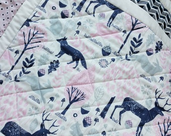 Baby Girl Quilt-Baby Quilts-Woodland Animals Baby Bedding-Gray-Navy-Pin-Nursery-Baby Shower Baby Blanket-Deer-Fox-Bunny Rabbit Baby Blanket