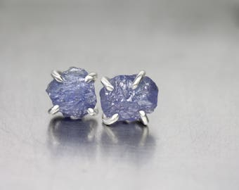 Rough Tanzanite Stud Earrings Pale Purple Sterling Silver 4 Prong Accessories Cute Boho Raw Gemstone Posts Gift Idea For Her - Lil Lilacs