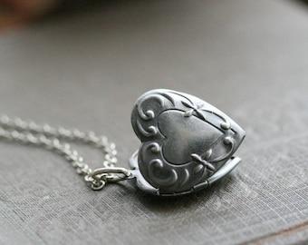 Small silver locket, tiny locket silver, layering jewelry, layering locket, small heart locket - Stella