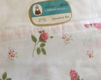 luxury muslin flat sheet vintage springmaid sheet with roses embroidered rose pattern nos