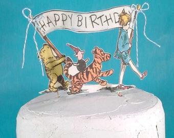Classic Pooh bear cake topper, fabric Winnie the Pooh birthday cake, H162