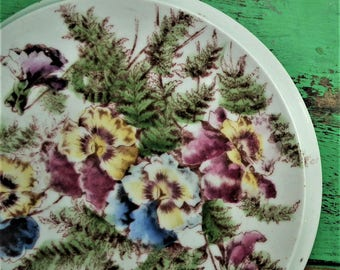 Antique Teapot Stand Hand Painted Floral Design Pansies Pansy Flowers Edwardian Circular Trivet Pot Stand Transfer Printed Vintage Decor