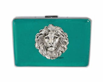 Lion Head RFID Wallet with Credit Card Organizer Hand Painted Teal Opaque Enamel with Personalized Options Available