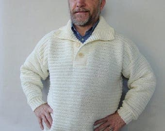 ON SALE Men's Sweater, Men's Wool Sweater, White Sweater, Men's Crochet Sweater, Wool Sweater Men, Dad Gift, Husband Gift, Available in S/M