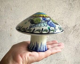 Vintage Mexican Pottery Mushroom Figurine, Tonala Ceramics