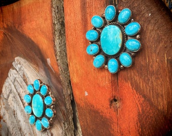 Big Turquoise Earrings Signed Navajo Native American Indian Jewelry, Turquoise Jewelry