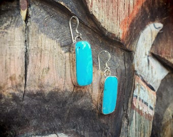 Sterling Silver Turquoise Earrings Southwestern Jewelry Turquoise Dangles, Gift for Her