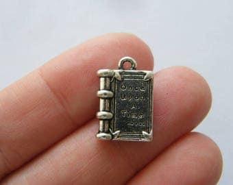 BULK 30 Once upon a time ... book pendants antique silver tone PT106