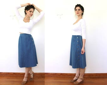 1980s 1970s Blue Denim Skirt / 70s 80s High Waisted Denim Nautical Skirt