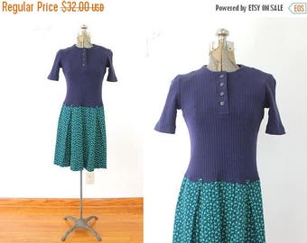 ON SALE 60s Scooter Dress / 1960s Blue Paisley Knit Mini Dress / 1960s Dress