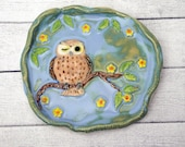 Winking Owl ring dish high relief organic shaped trinket dish with flowers / owl lovers gift / owl decor blue green tones teabag holder