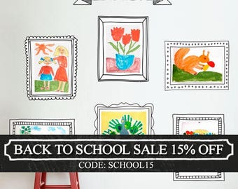 Kids Art Display Frames - Photo Frames - Wall Stickers - Peel and Stick