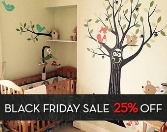 Woodland Nursery, Wall Decals Nursery, Tree Wall Decal, Nursery Decor, Owl  Nursery Part 34