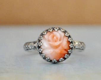 SILVER CORAL RING,  hand made floral band oxidized sterling silver ring with natural untreated pink angel skin carved flower coral cab