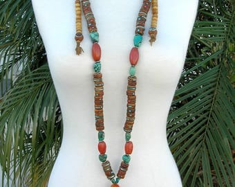 INCREDIBLE Authentic Tibetan Necklace, Purchased in Lhasa Market, Tibet in 1995, Turquoise, Amber, Yak Bone, Carnelian, Coral, SandraDesigns