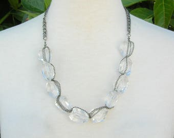 Glass Crystal & Chain Necklace, Unusual Vintage Necklace, Like New