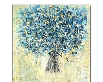 Textured Blue Flowers Bouquet Contemporary Abstract Palette Knife Painting by Henry Parsinia 30x30