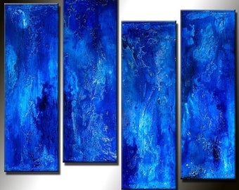 ORIGINAL Abstract Painting Textured Contemporary Blue Fine Art  by Henry Parsinia Large32x24