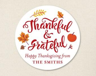 "Thanksgiving Stickers - ""Thankful & Grateful"" - Sheet of 12 or 24"
