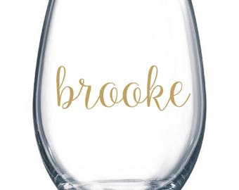 DIY Personalized Name Wine Glass Kit for 12 Glasses Wedding Party * Decals * Bride * Bridal Party * Rehearsal Dinner * Easy Project Save