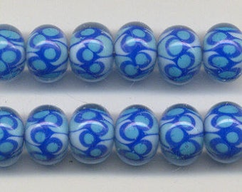 Tom's lampwork transparent encased blues,  2 bead set, 1 pair,  95643