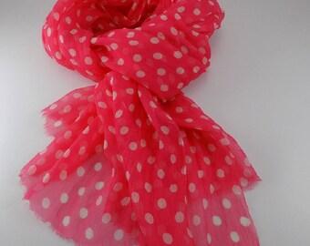 Handmade Silk Scarf --- Watermelon Red and White / Polka Dot