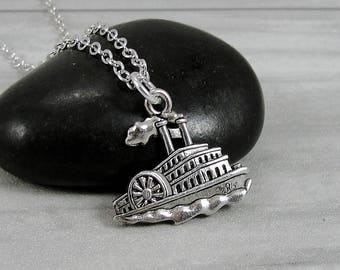 Steamboat Necklace, Silver Plated Steamship Boat Charm on a Silver Cable Chain