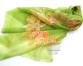 Greenery silk scarf, green silk scarf, floral silk scarf, long silk scarf, spring, orchid, hand paint silk, luxury, feminine, giftideas