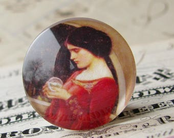 "John William Waterhouse ""The Crystal Ball"" 25mm glass cabochon, artisan crafted, Art History collection, 1 inch circle, bottle cap size"