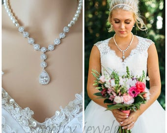 Bridal Pearl Necklace Pearl Statement Wedding Necklace Pearl Crystal Necklace Cubic Zirconia Pearl Bridal Jewelry, Tara