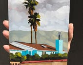 Palm Trees and the Teal House - Oil painting by Sharon Schock
