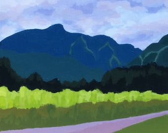 """MOUNTAIN RANGE, Plein Air, Plein Air Painting, Bestfriend Gift, Most Popular Items, New House Gifts, New Homeowners, Vermont, 8"""" x 8"""""""