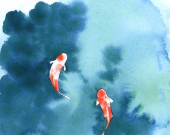 Koi Pond - Watercolor 5x7 Print