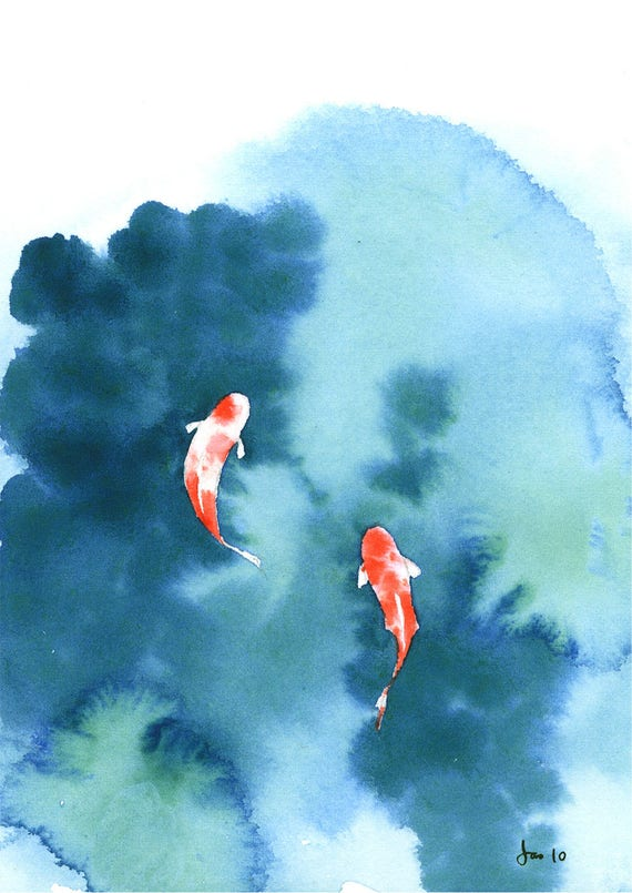 Koi pond watercolor 5x7 print for Easy fish painting