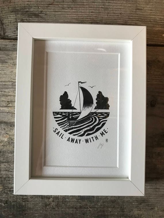 SALE! Sail Away With Me - Mini Framed Print