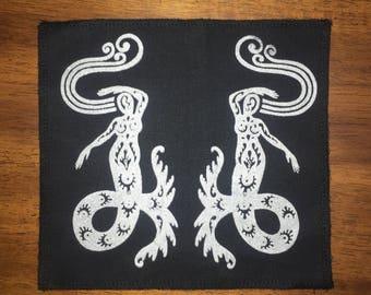 Mermaid Undine Elemental Dancers Patch silver On Black