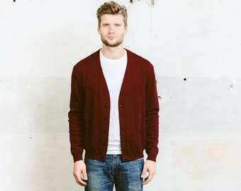 Vintage 60s Mens Cardigan . Knit Sweater Jacket Vneck Burgundy Red Fitted Cardigan Button Down Ivy League Boyfriend Gift . size Medium