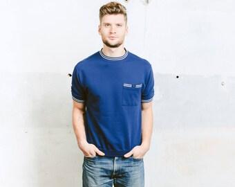 Men 80s T-Shirt . Short Sleeve Sweatshirt Vintage Rocabilly Shirt Blue White Golf Tennis T-shirt Hipster Outfit . size Medium