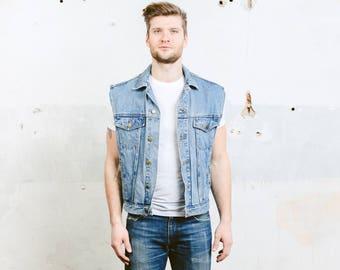 Vintage Jeans Vest . Denim Jacket Mens 1990s Sleeveless Jacket Blue Indie Hipster Grunge 1980s Waistcoat . size Medium M