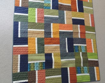 Modern Quilt / Fall Colors/ Rust, Navy, Orange, & Tans