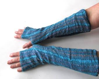 Felted Mittens, Blue fingerless gloves, Wool gloves, Blue fingerless Winter gift, Blue Warm mitts, Blue gloves gift for her  outdoors gift