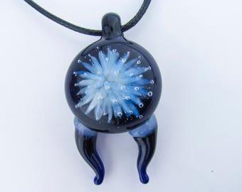 Horned Implosion Pendant Necklace, Hand Blown glass Anemone Jewelry,  Heady Glass Pendant, Lampwork, Boro Art Glass, Borosilicate Blue Glass