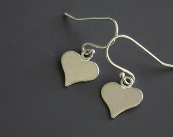Silver Heart Earrings - Simple Necklace - Sterling Silver Earrings - Minimalist Earrings - Dainty Earrings - Everyday Earrings