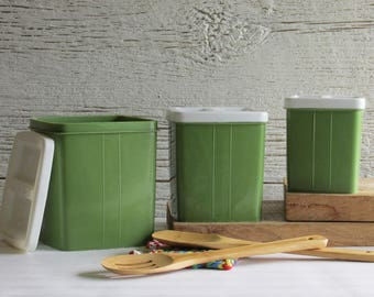 retro style - vintage kitchen decor - canisters - avocado green and white