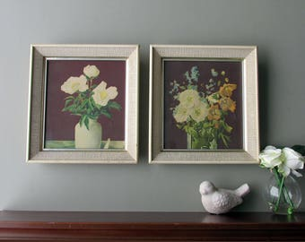 MCM framed prints- Set of 2 Florals - Nice mid-century - Wall Hanging