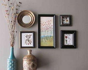 "Botanicals wall art - ""Million Dollar Botanical"" - home decor - a 5 piece wall collage"