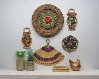 wall straw art - Purple Rain - set of 5 pieces - bohemian tribal style art - wicker basket wall art- rattan