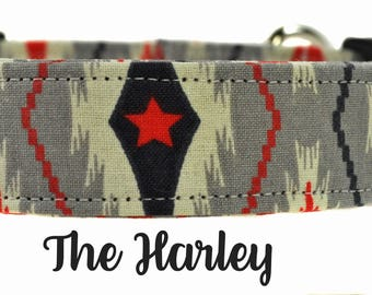 Gray and Red Dog Collar - The Harley